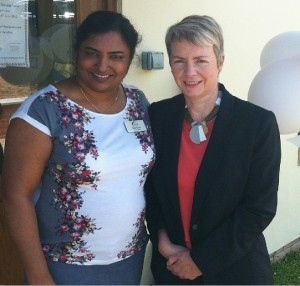 Karin Smyth MP pictured with the Manager of Hartcliffe Nursing Home, Raji Sunil