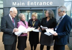 Left to right: Dr John Savage CBE, Chairman of University Hospitals Bristol NHS Foundation Trust, Karin Smyth MP, hospital General Manager, Neina English, Heidi Alexander MP, and Robert Woolley, Chief Executive, UH Bristol
